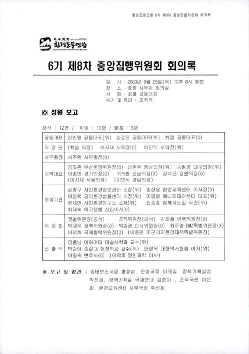 6기 제8차 중앙집행위원회 회의록