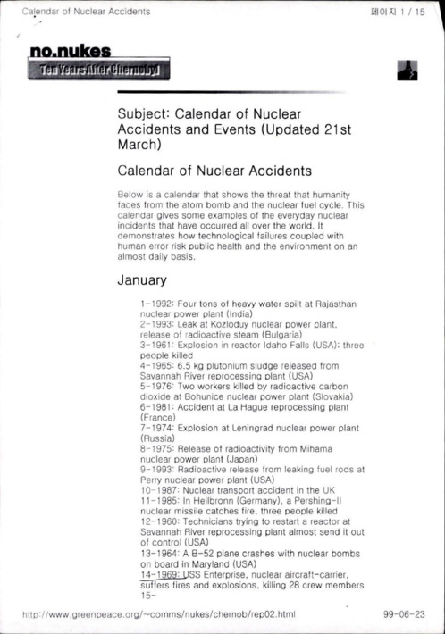 Calendar of nuclear accidents