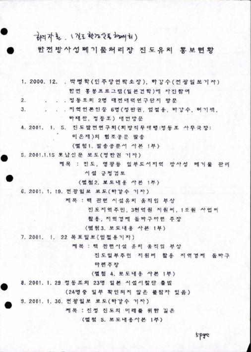 한전방사성폐기물처리장 진도유치 홍보현황