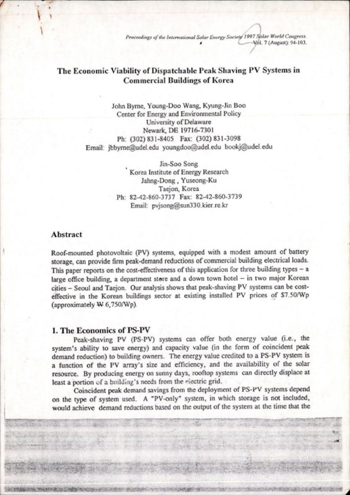 The Economic Viability of Dispathable Peak Shaving PV Systems in Commercial Buildings of Korea