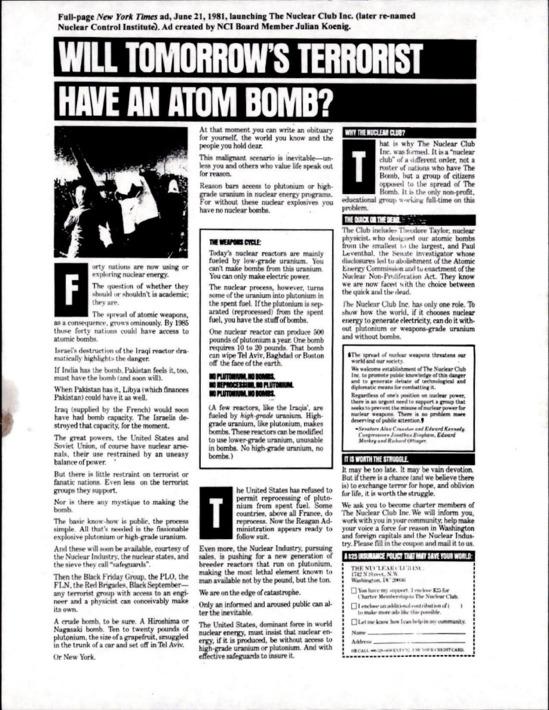 WILL TOMORROW'S TERRORIST HAVE AN ATOM BOMB?