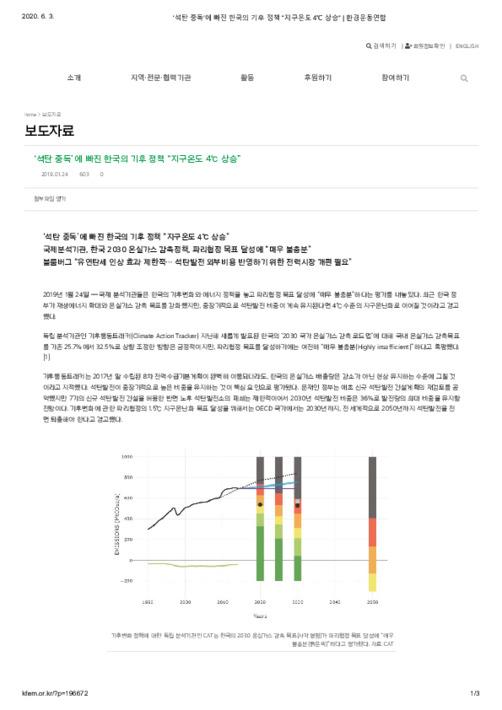 """'석탄 중독'에 빠진 한국의 기후 정책 """"지구온도 4℃ 상승"""""""