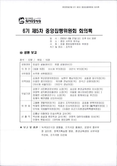 6기 제5차 중앙집행위원회 회의록