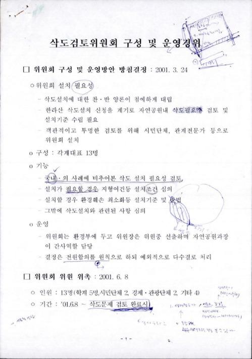 삭도검토위원회 구성 및 운영경위