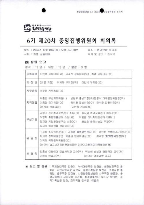 6기 제20차 중앙집행위원회 회의록