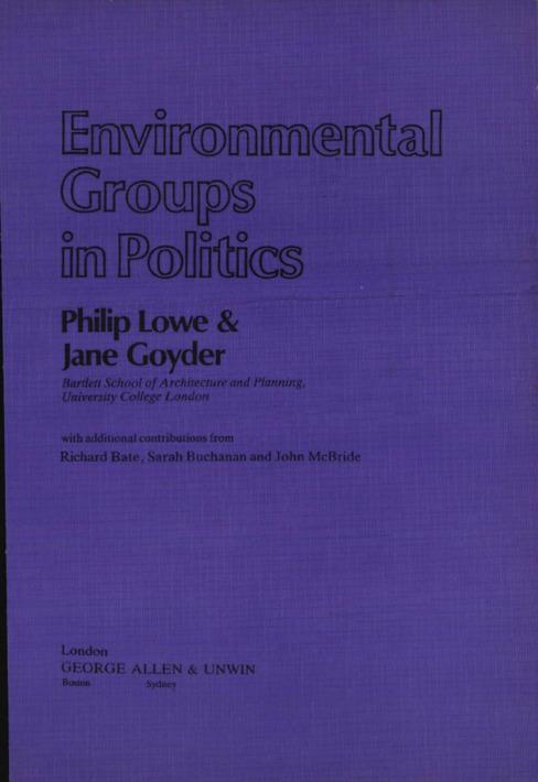 Environmental Groups in Politics