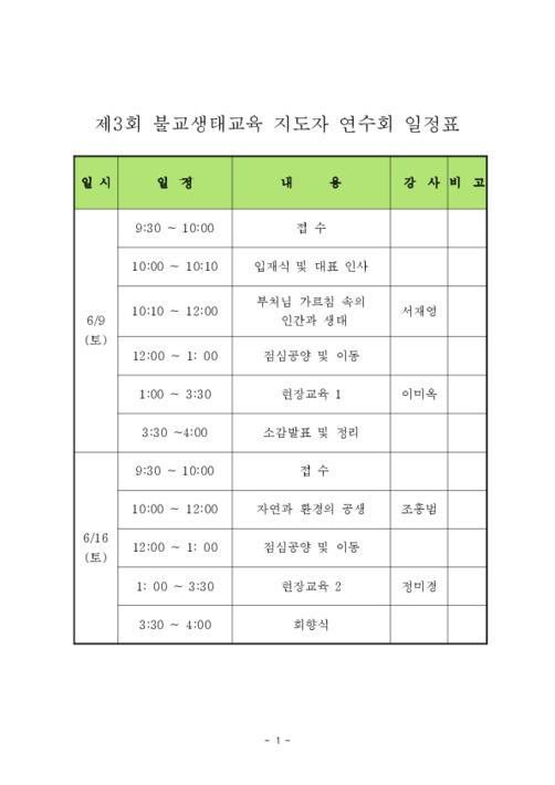 2007 불교생태교육 지도자연수회 자료집