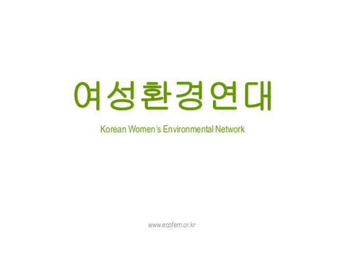 여성환경연대 소개 영문 자료(2013)