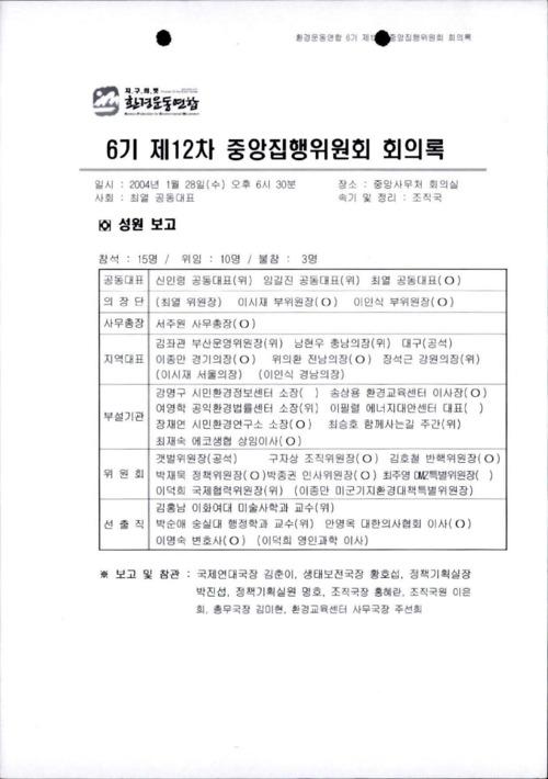 6기 제12차 중앙집행위원회 회의록