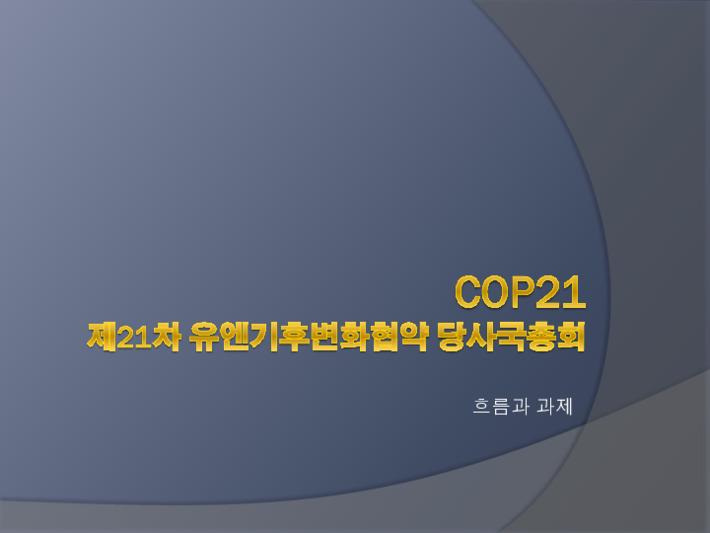 제21차 유엔기후변화협약 당사국총회 흐름과 과제