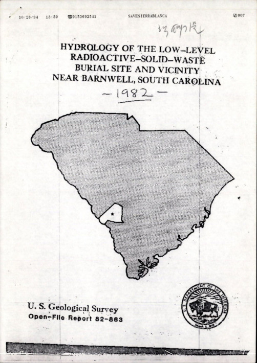 HYDROLOGY OF THE LOW LEVEL RADIOACTIVE SOLID WASTE BURIAL SITE AND VICINITY NEAR BARNWELL SOUTH CAROLINA