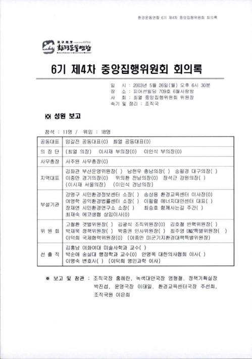 6기 제4차 중앙집행위원회 회의록