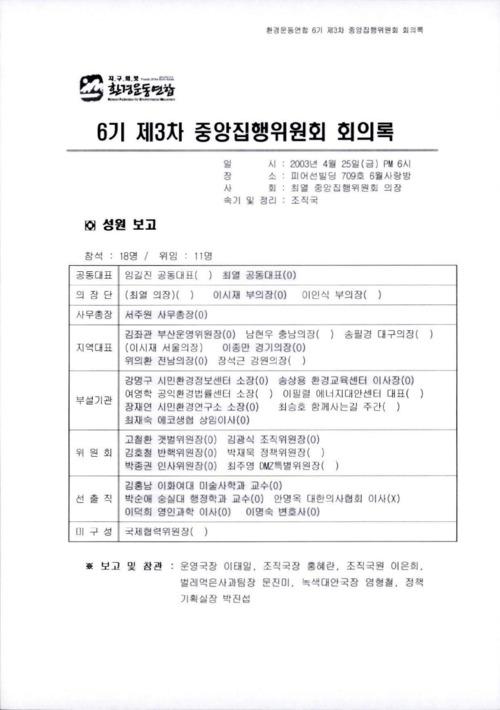 6기 제3차 중앙집행위원회 회의록