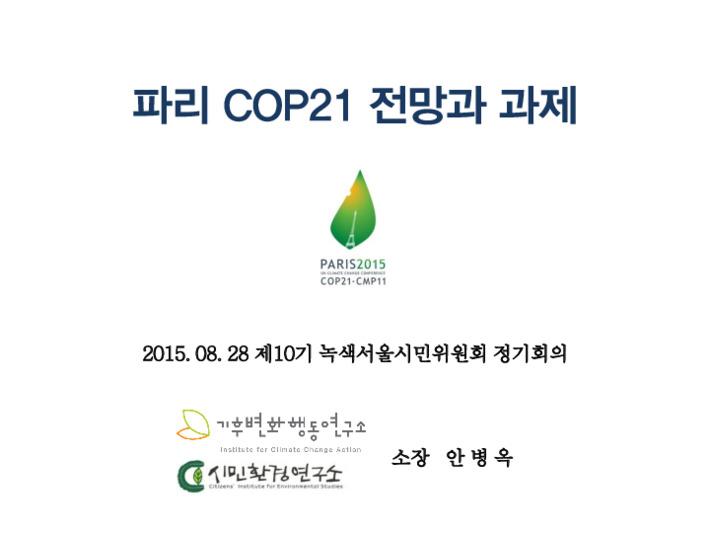 파리 COP21 전망과 과제