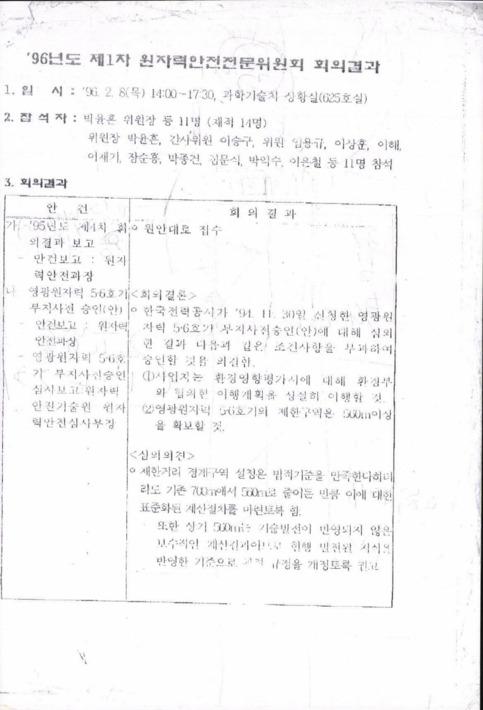 96년도 1차 원자력안전전문위원회 회의결과