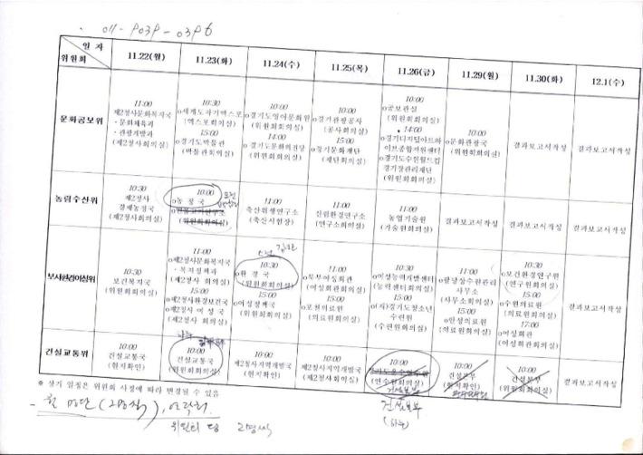[여러 위원회 일정표]