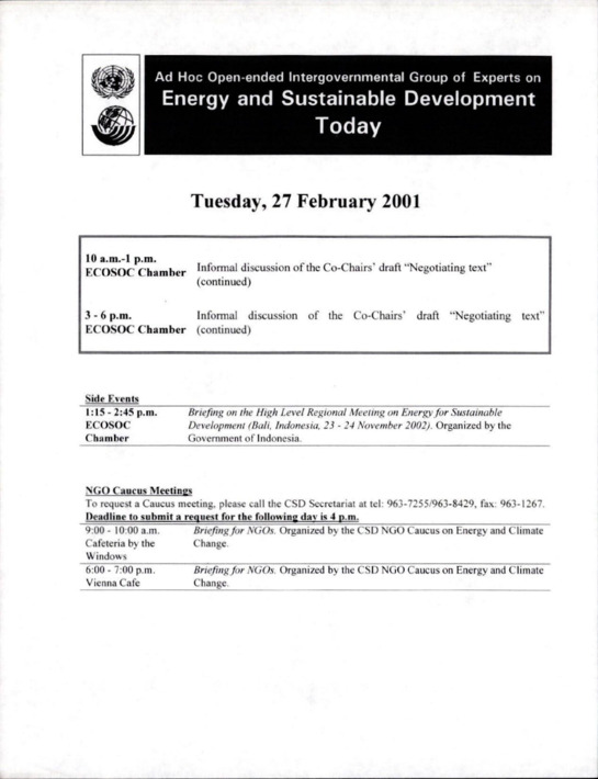 Ad Hoc Open-ended Intergovernmental Group of Experts on Energy and Sustainable Development Today