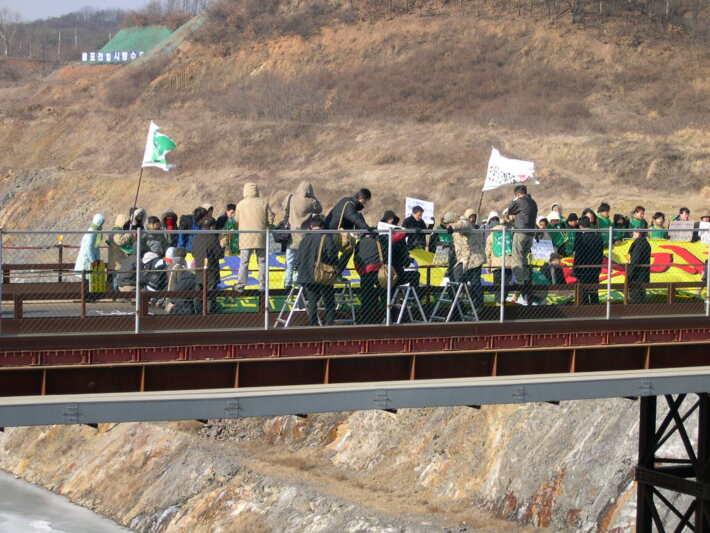 2005년 경인운하백지화 시위 사진