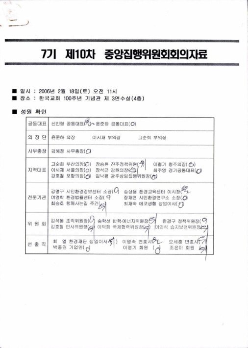 7기 제10차 중앙집행위원회 회의자료