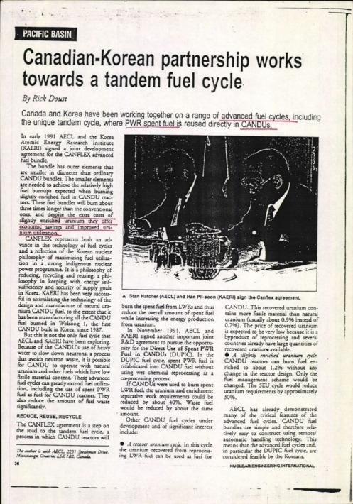 캐나다와 한국의 파트너십은 공동 연료 사이클을 지향한다