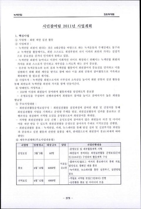 시민참여팀 2011년 사업계획