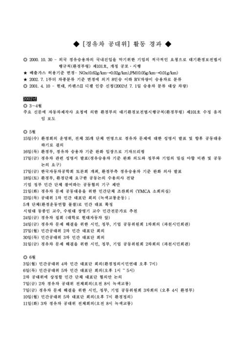 경유차 공대위 활동 경과서