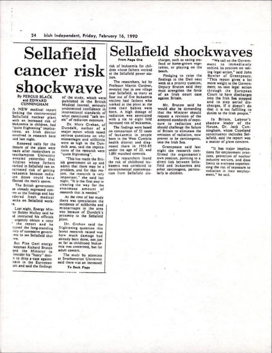 Sellafield cancer risk shockwave