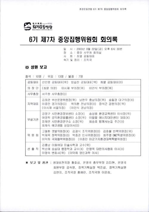 6기 제7차 중앙집행위원회 회의록
