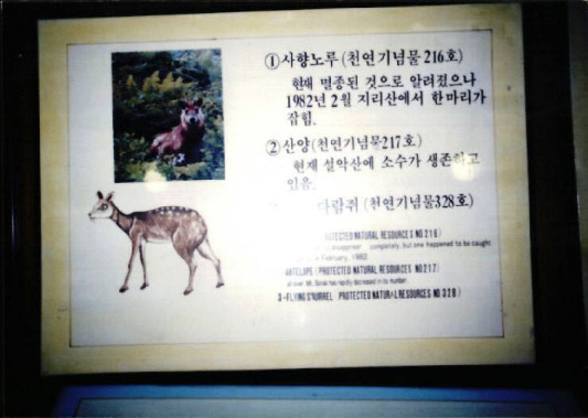 [지리산의 야생동물 안내판 사진]