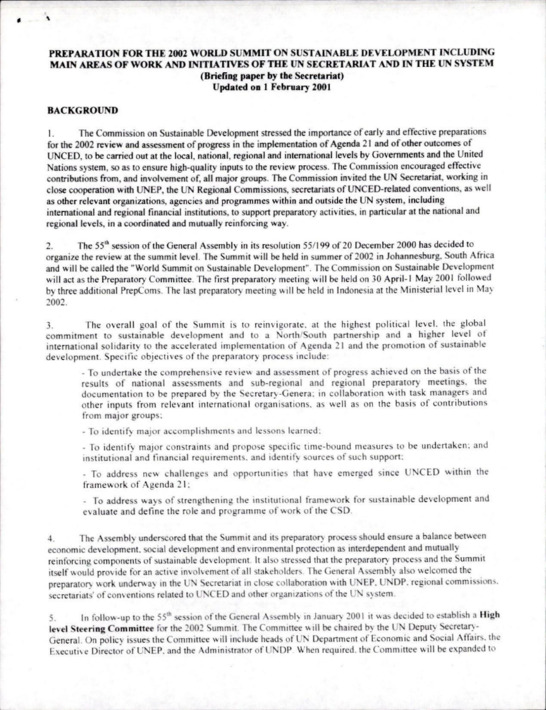 PREPARATION FOR THE 2002 WORLD SUMMIT ON SUSTAINABLE DEVELOPMENT INCLUDING MAIN AREAS OF WORK AND INITIATIVES OF THE UN SECRETARIAT AND IN THE UN SYSTEM