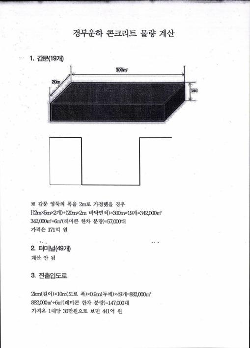 경부운하 콘크리트 물량 계산