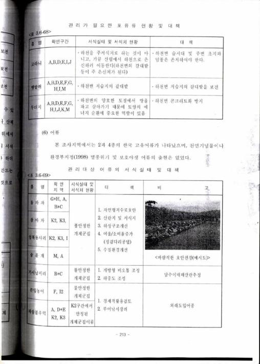 [안성천 수계의 하천생태환경 및 생태계에 대한 내용이 정리된 문서의 일부]